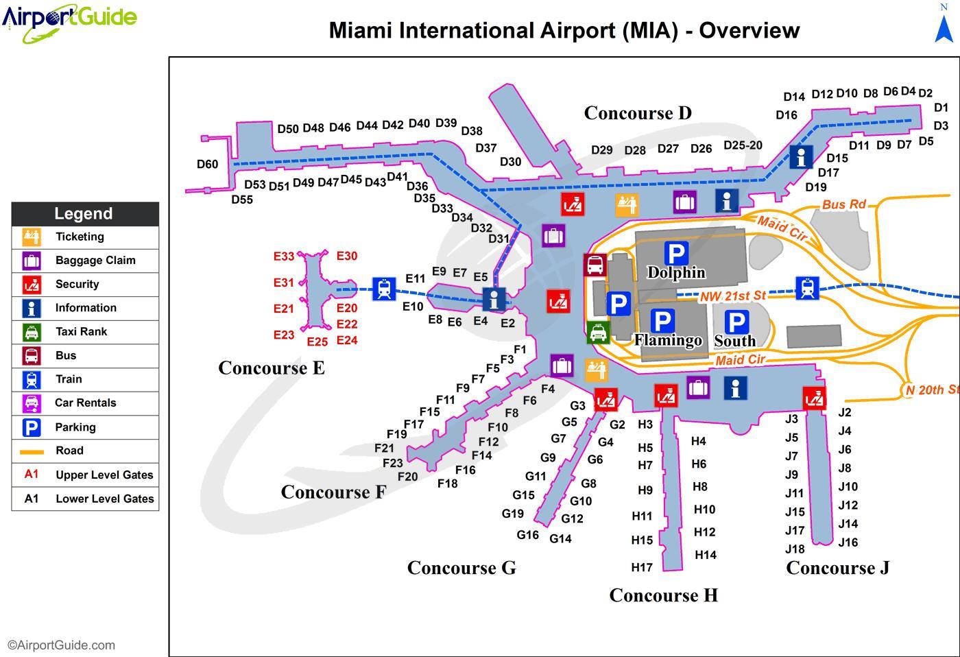 miami international airport sulla mappa - mappa di aeroporto