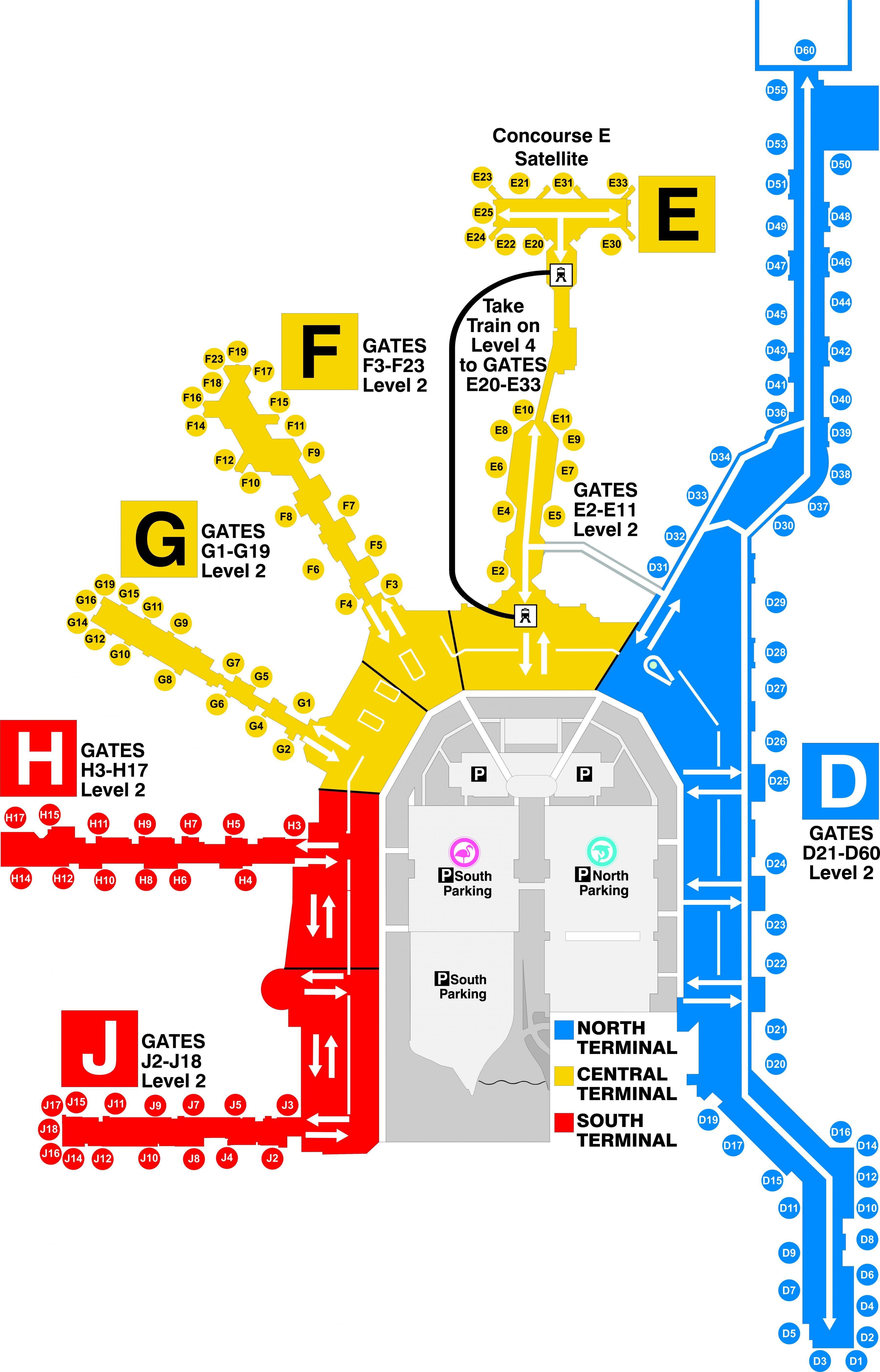 miami airport sulla mappa - mappa di aeroporto di miami